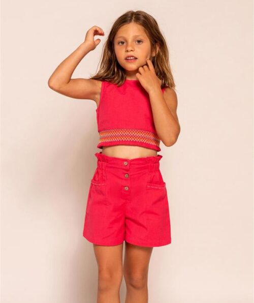 SHORT CON LINO PARA NIÑA, CORAL (Medium)